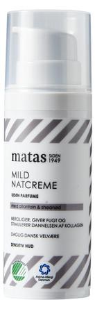 Matas Striber Mild Natcreme til Sensitiv Hud Uden Parfume 50 ml