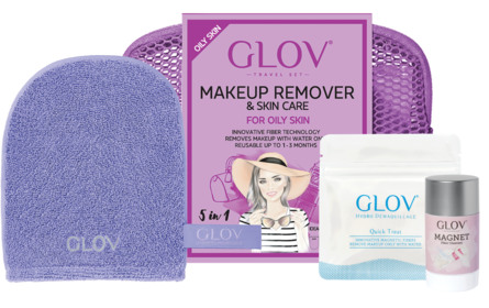 GLOV Makeup Remover Travel Set Oily Skin Purple
