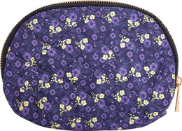 Luxury by Laze Halfmoon Make-Up Pung Navy med Blomsterprint