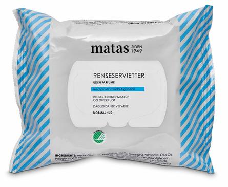 Matas Striber Renseservietter til Normal Hud Uden Parfume 25 stk.