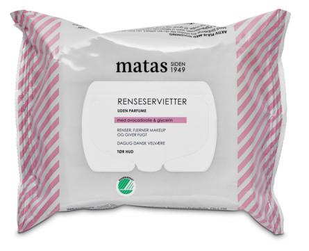 Matas Striber Renseservietter til Tør Hud Uden Parfume 25 stk.