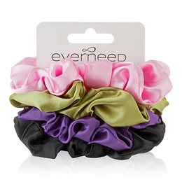 Everneed Scrunchie 4 Pack -  Silky Baby Pink, Army, Purple, Black