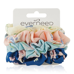 Everneed Scrunchie 4 Pack -  Flower Blossom, Field, Baby Blue, Navy