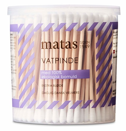 Matas Striber Vatpinde med Træ 200 stk.