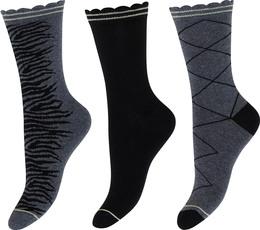 Decoy 3-pak strømpe Grey/Black 37/41