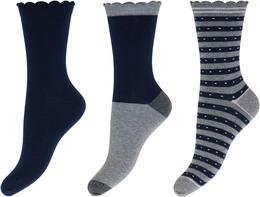 Decoy 3-pak strømpe Grey/Navy 37/41