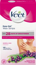 Veet Easy-Gel Wax Strips Underarm Normal Skin 16 stk