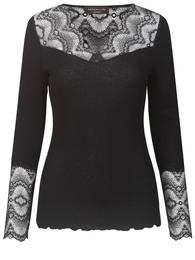Rosemunde Silk t-shirt med Blonder Sort str. S
