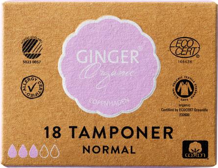 Ginger Organic Tampon u/indføring - Normal 18 stk