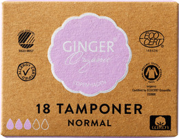 GingerOrganic Tampon u. indføring - Normal, 18 stk.
