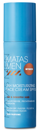 Matas Striber Men 24H Moisturizing Face Cream SPF 15 til Sensitiv Hud Uden Parfume 50 ml