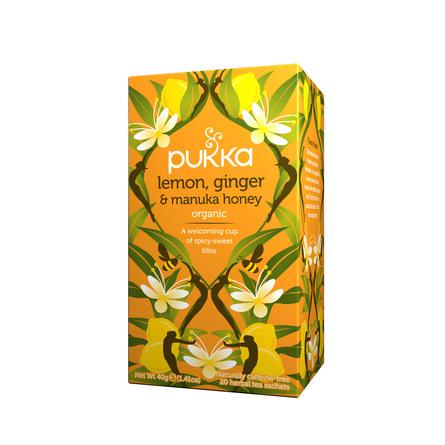 Pukka Lemon, Ginger & Manuka honey te 20 breve