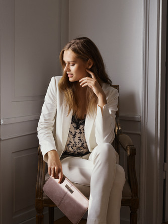 Rosemunde Clutch i ruskinds-look Brun/guld