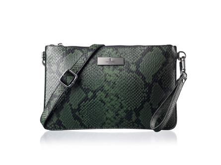 Rosemunde Clutch i python-look Grøn Python