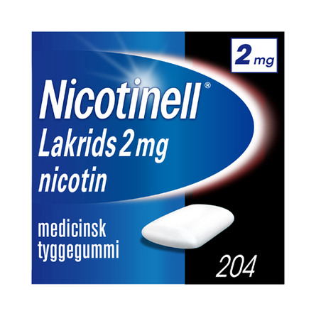 Nicotinell Lakrids tyggegummi 2 mg 204 stk