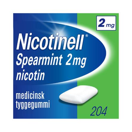 Nicotinell Spearmint tyggegummi 2 mg 204 stk