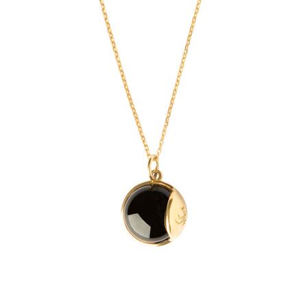 Livets Smykke Tro halskæde lang Forgyldt - Black Obsidian