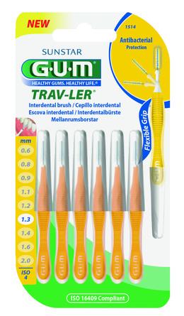 GUM TravLer - ISO 4 - PHD 1,3 mm- wire 0,6 mm Gul, 6 stk.