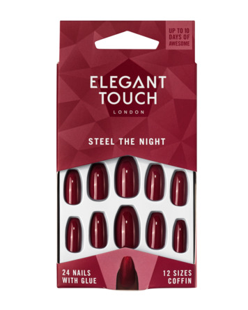 Elegant Touch E.T kunstige negle Steel the Night Red (squaletto)