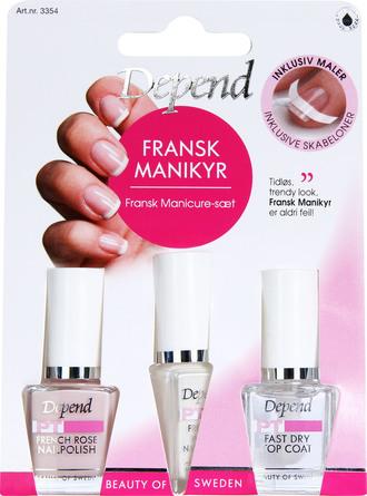 Depend Fransk Manicure Kit Rosa