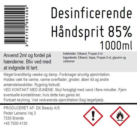 Hånddesinfektion Håndsprit 85% 1000 ml