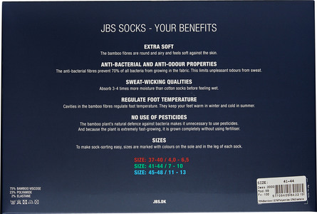 JBS Socks Bamboo 7 Pairs Box multifarvet 7/40