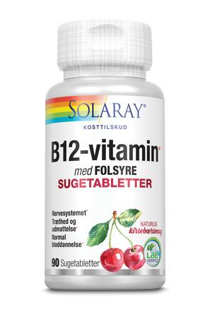 Solaray B12-vitamin med folsyre 90 sugetabletter