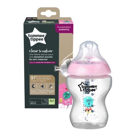 Tommee Tippee Sutteflaske Closer To Nature Langsom Gennemstrømning Appellerende Til Piger
