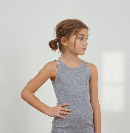 Rosemunde Silketop til Børn Mørkegrå Str. 1 år