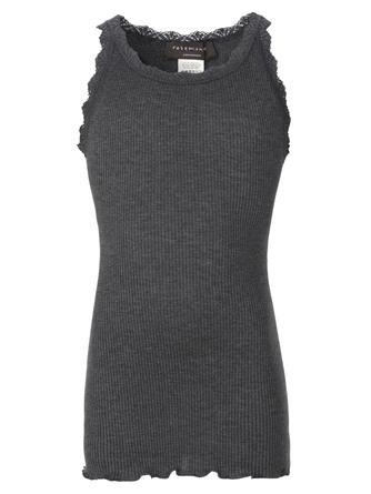 Rosemunde Silk Top Regular -Lace Dark Grey Melange Str. 4 år