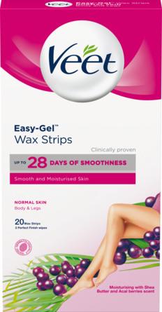 Veet Easy-Gel Wax Strips til Normal Hud 20 stk.