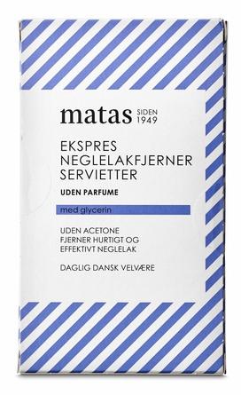 Matas Striber Ekspres Neglelakfjernerservietter uden Acetone og Parfume 20 stk.