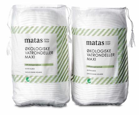 Matas Striber Økologiske Vatrondeller Maxi 2 x 40 stk.
