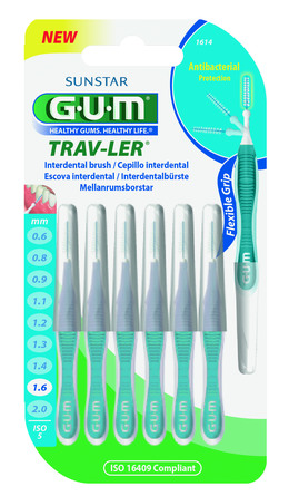 GUM TravLer - ISO 5 - PHD 1,6 mm- wire 0,7 mm Blå, 6 stk.