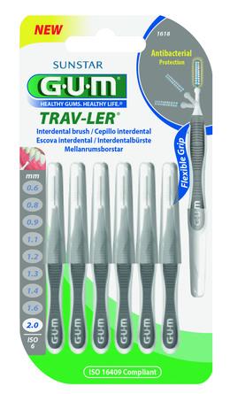 GUM TravLer - ISO 6 - PHD 2,0 mm - wire 0,9 mm Grå, 6 stk.