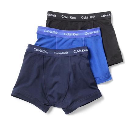 Calvin Klein Undertøj Trunk Mens 3 Pack Str. M Blue, Cobalt, Black