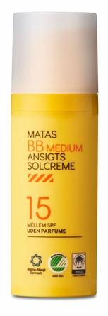 Matas Striber BB Ansigtssolcreme SPF 15 Medium Uden Parfume 50 ml