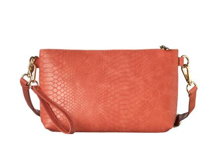 Rosemunde Clutch i snake-look Peach/Orange