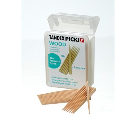 Tandex PICKI WOOD, Tandstik 3-kantet, Birketræ 80 stk.