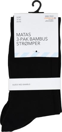 Matas Striber Bambus Strømpe 3-pak, Sort Str. 37/41