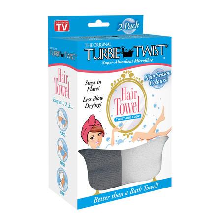 Turbie Twist Microfiber Hårturban 2-Pak Charcoal & White