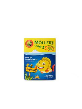 Møllers Tran Omega-3 fisk Frugt, 45 styk 45 styk