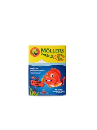Møllers Tran Omega-3 fisk Jordbær, 45 styk 45 styk