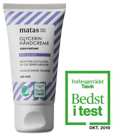 Matas Striber Glycerin Håndcreme Uden Parfume 40 ml, rejsestørrelse