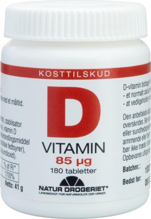 Natur Drogeriet D-vitamin 85 ug 180 tabl