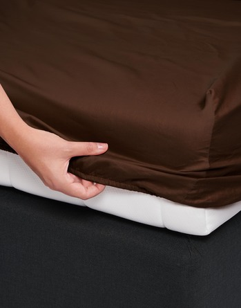 Essenza Satin Fitted Sheet Chocolate 90 x 200
